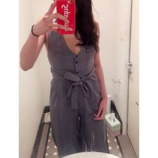 Grey Striped Jumpsuit Romper Playsuit S