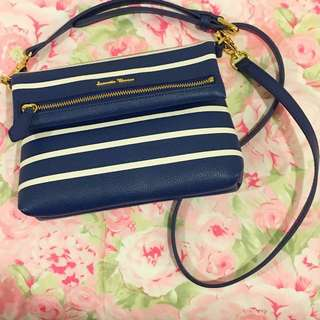 Samantha Thavasa Navy & White Stripes Crossbody