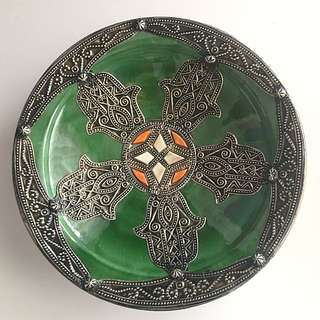 Authentic Moroccan Silver Ceramic Plate