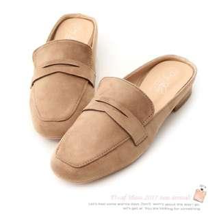 小方頭平底樂福鞋 休閒平底艾莉款 穆勒鞋