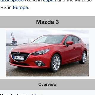 Rental of Mazda 3