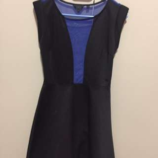 [GUESS] - Black A-line dress with blue mesh inserts (Sz XS 6)