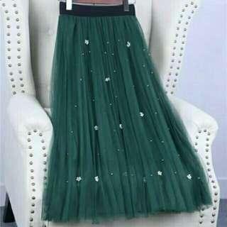 墨綠色雙層網紗半身裙