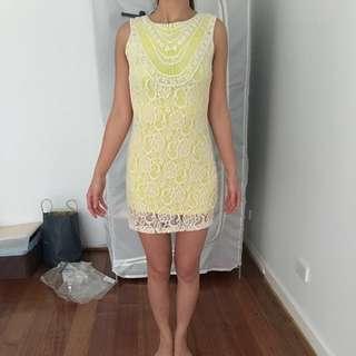 Yellow & Ivory Lace Sass Dress