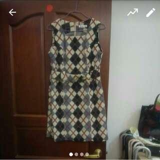 香港製 古著 菱形 洋裝 #大掃除五折