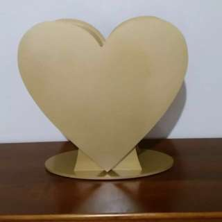 Large Gold Heart Wishing Well Box With Optional Lock