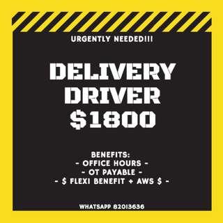 JOB : • $1800 DELIVERY VAN DRIVER | OFFICE HOURS | GOOD BENEFITS •