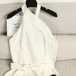 Bardot white open back top
