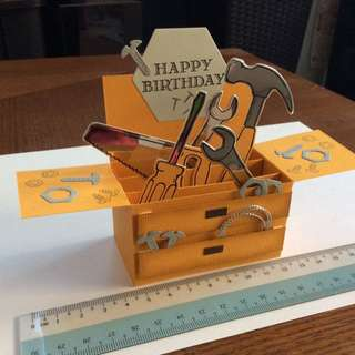 Handmade Birthday Toolbox Pop Up Box Card