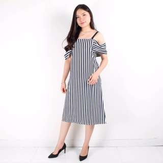 stripe shoulder dress