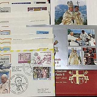 Vatican+Central America 1983 Pope John Paul II Visit Set of 17 Commemorative Covers+ S/S NH+ 18 Printed Info Cards+ Folio