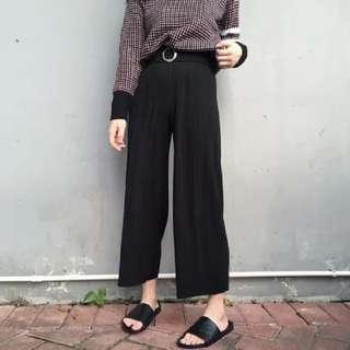 黑色折痕寬褲