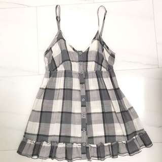 F21 checkered frilly top