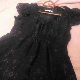 Black Dress With Flora Print