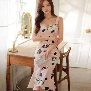 粉紅魚尾洋裝
