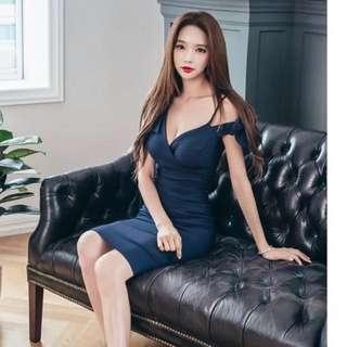 深藍色性感洋裝