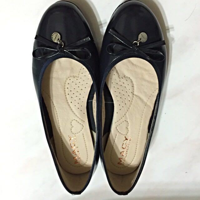 5折近全新 MAGY日系logo娃娃鞋-深藍