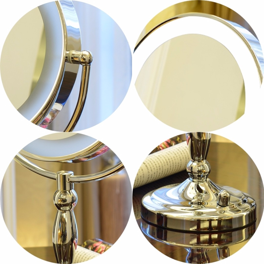 9 Inch Large Led Lighted Vanity Makeup Mirror Dimmable 3 Way Powered 3x Magnifying 360 Degree Rotatable Table Top Premium Round Health Beauty
