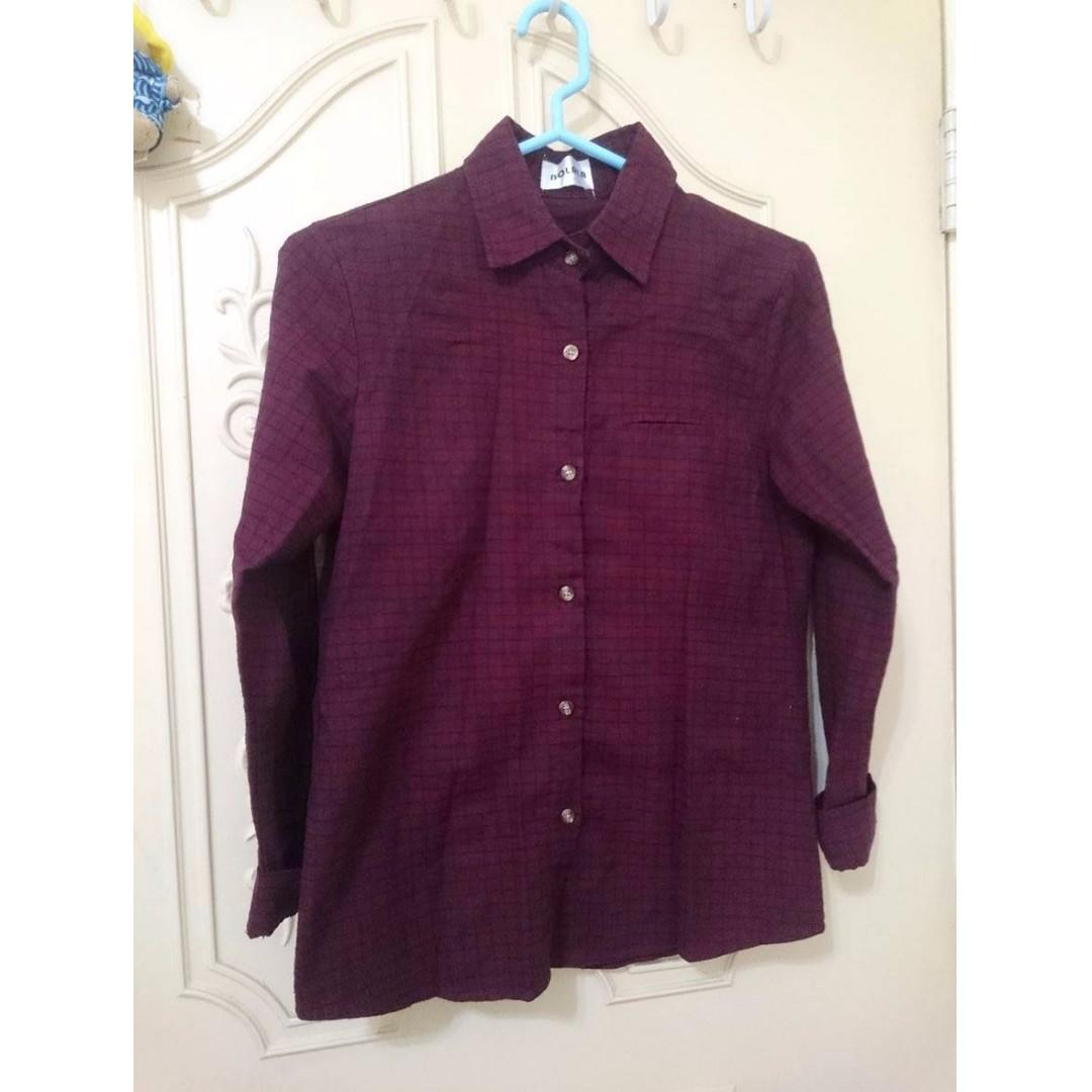 二手 酒紅色小格紋毛料長袖襯衫