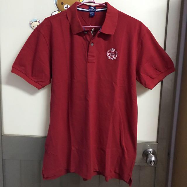 男生紅色短袖 olivo POLO衫