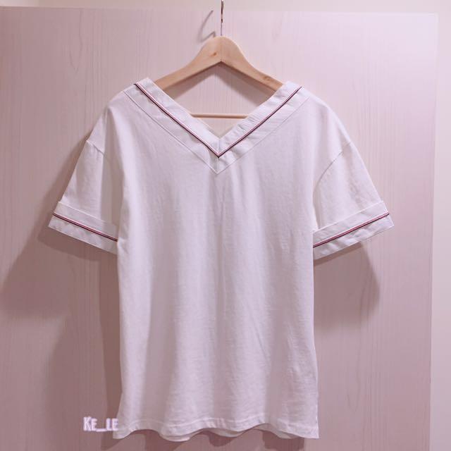 質感條紋拼接 韓版短袖T