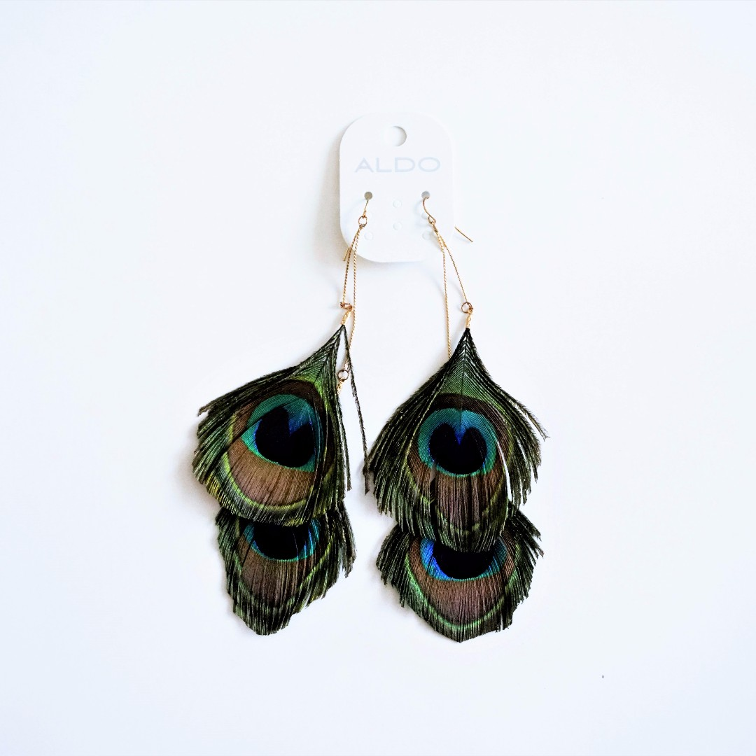 ALDO - Peacock Feather Drop/Hanging/Dangling Earrings