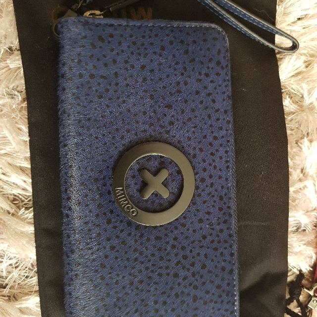 As new Mimco Navy Supernatural Wallet