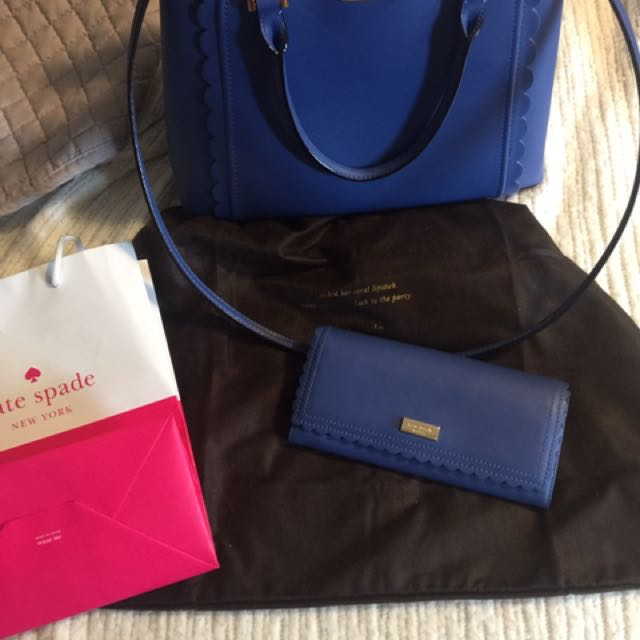 Authentic Kate spade blue purse + matching wallet