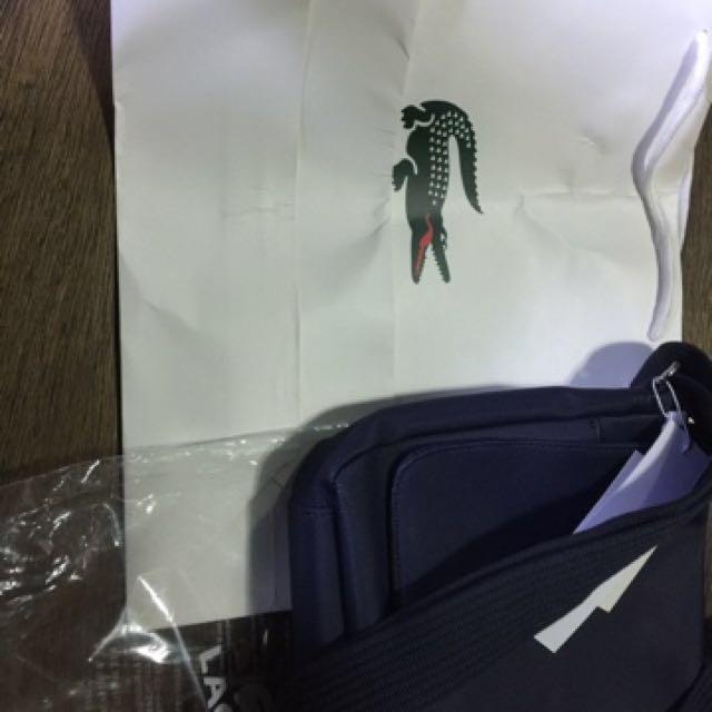 Authentic Lacoste Sling bag bigay lang sakin formal Kasi dating masyado di bagay sa rakers na katulad ko. Just beep me po sa interested di po kasi ko lagi ol. 09169649572