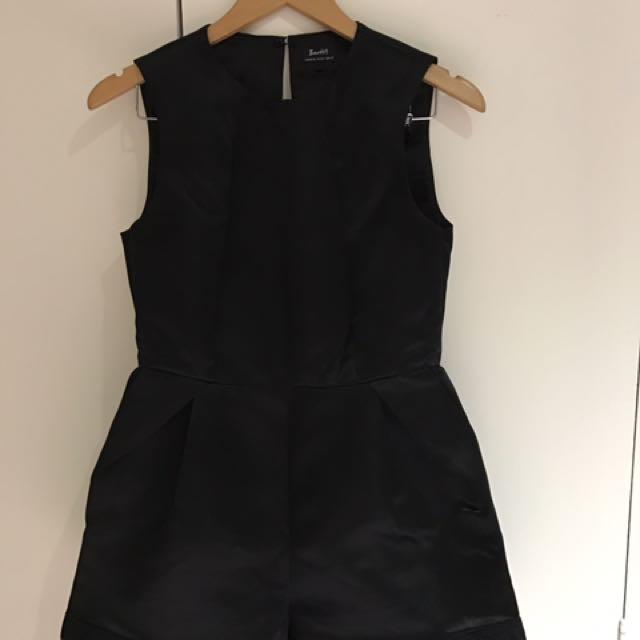 Bardot black satin play suit size 10