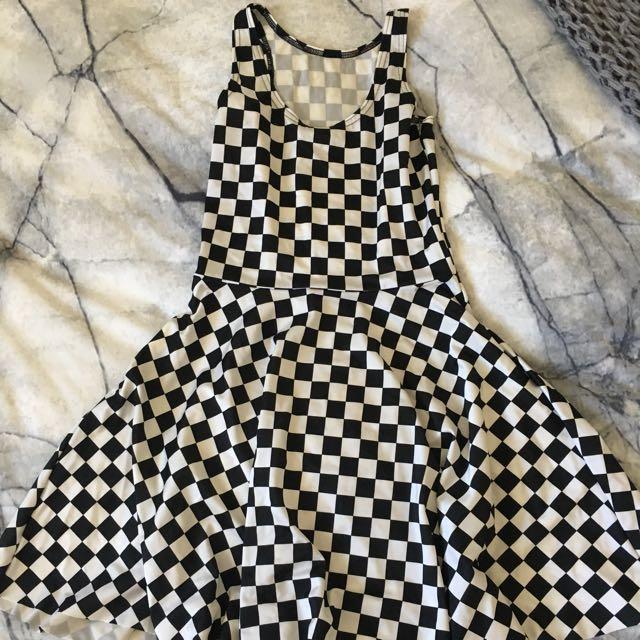 Black Milk Indy Check Skater Dress Size S