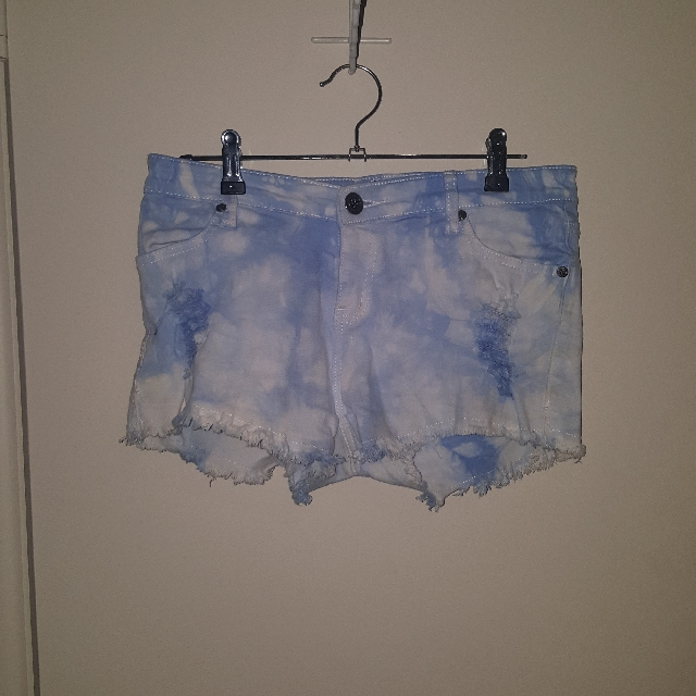 Blue and White Denim Shorts