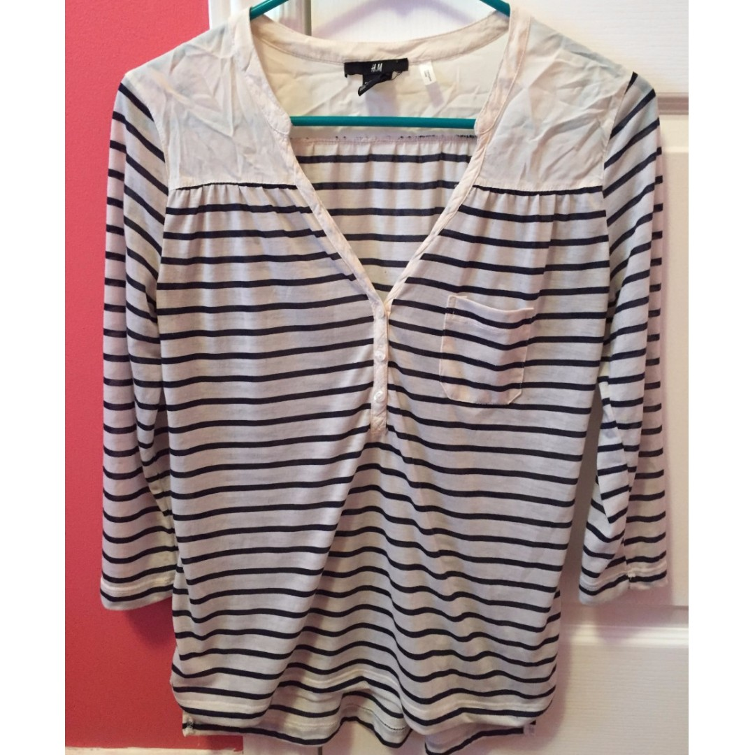 Blue and White stripped quarter sleeve (size XS) from H&M