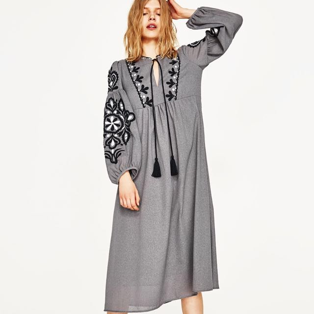 Bnwt Zara Embroidered Bohemian Midi Dress Women S Fashion Clothes