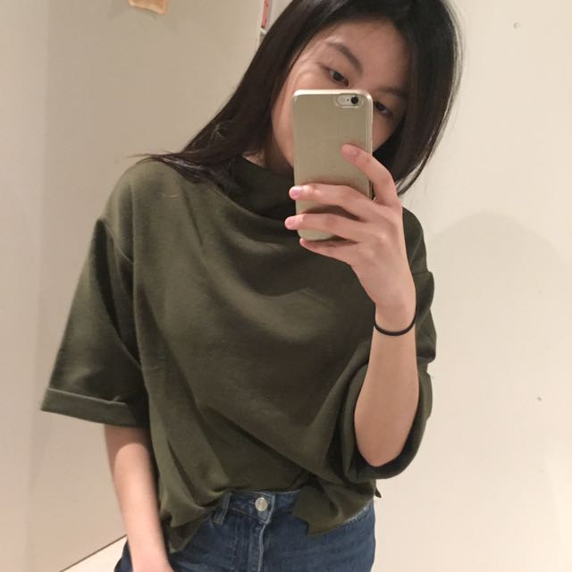 Boxy Army Green Top