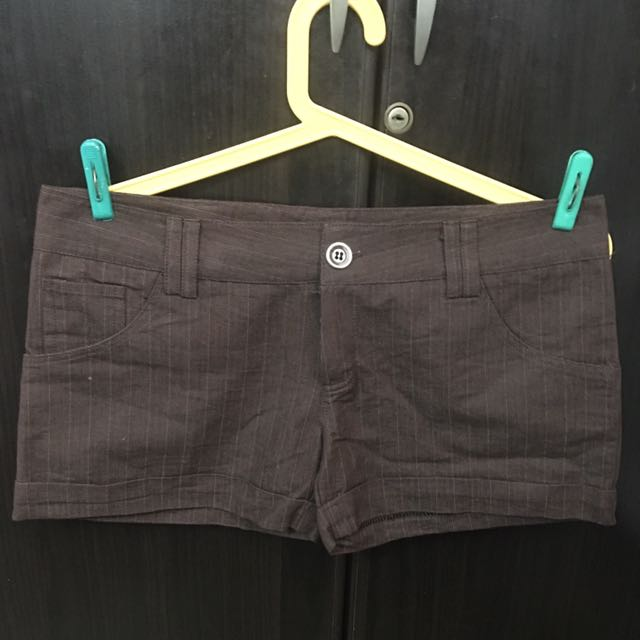 Brown Striped Shorts