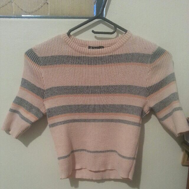 Chicabooti Ribbed Pink stripped Crop Tee/ cropped shirt