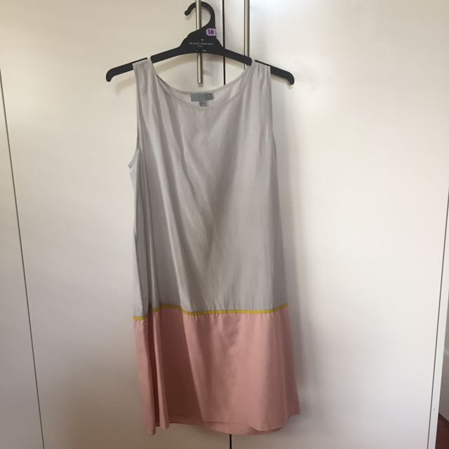 COS silk/cotton grey and pink tank dress