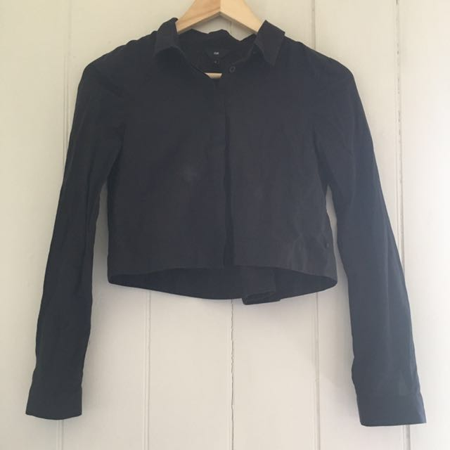 Cue cropped black blouse