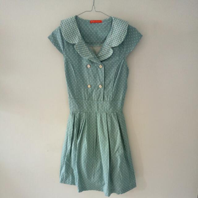 INCLUDE ONGKIR JAKARTA - Dress Mint Polkadot