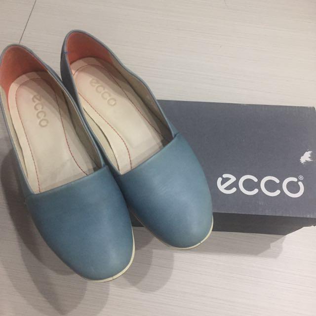 ecco 平底鞋 娃娃鞋 藍綠色
