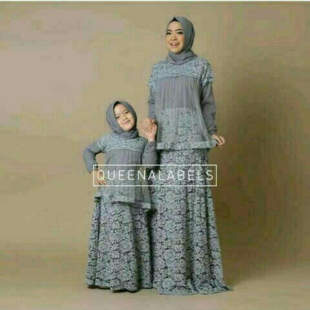 gamis / setelan couple wanita muslim ibu anak syari / queenabels