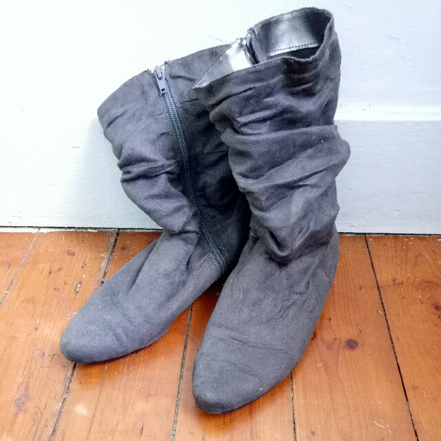Grey Slouch Boots