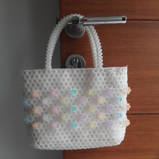 Handbag Mini Tas Mote2 Putih Bunga