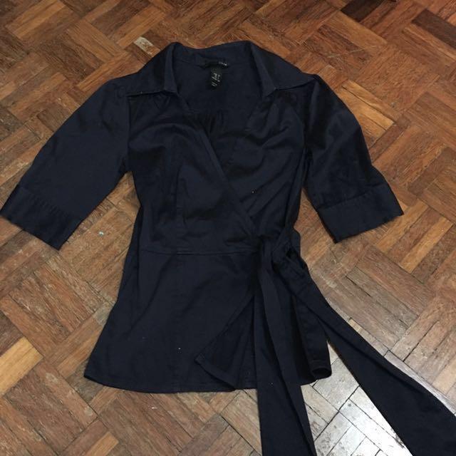 H&M dark blue cross-over top