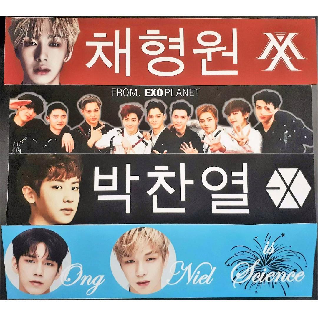 KCON EXO Chanyeol, Wanna One Ongniel, Monsta X Hyungwon Slogans