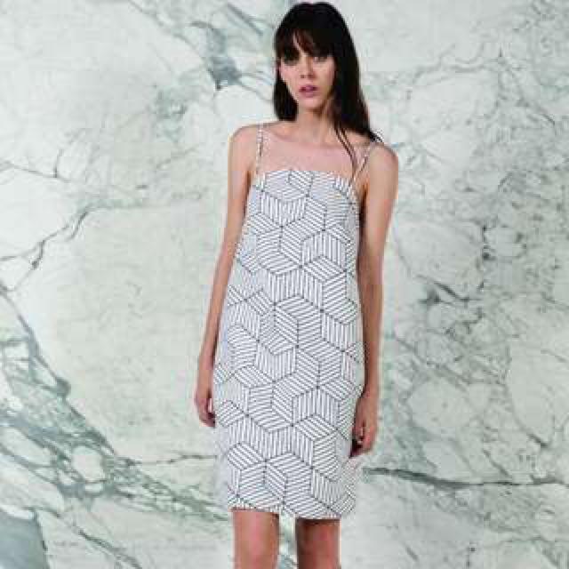 KEEPSAKE Luck Now white geometric print dress