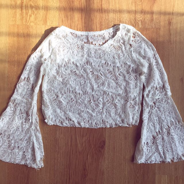 Lace Cropped Top With Bell Sleeves