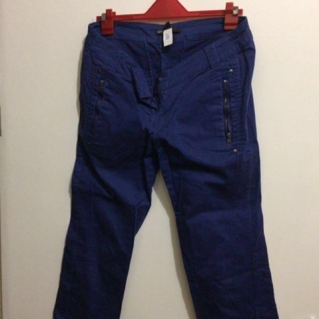 Mango Blue Cropped Pants