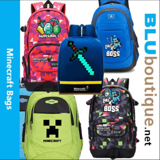 Minecraft school bag minecraft backpack minecraft haversack Minecraft bag ***Ready Stock!